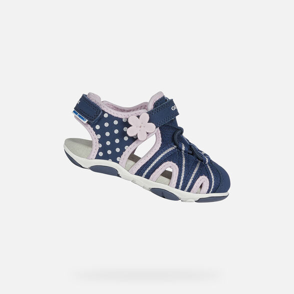 SANDALS BABY GEOX AGASIM BABY GIRL - NAVY BLUE AND PINK