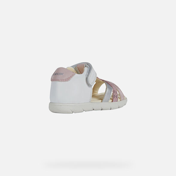 SANDALS BABY GEOX ALUL BABY GIRL - WHITE AND PINK