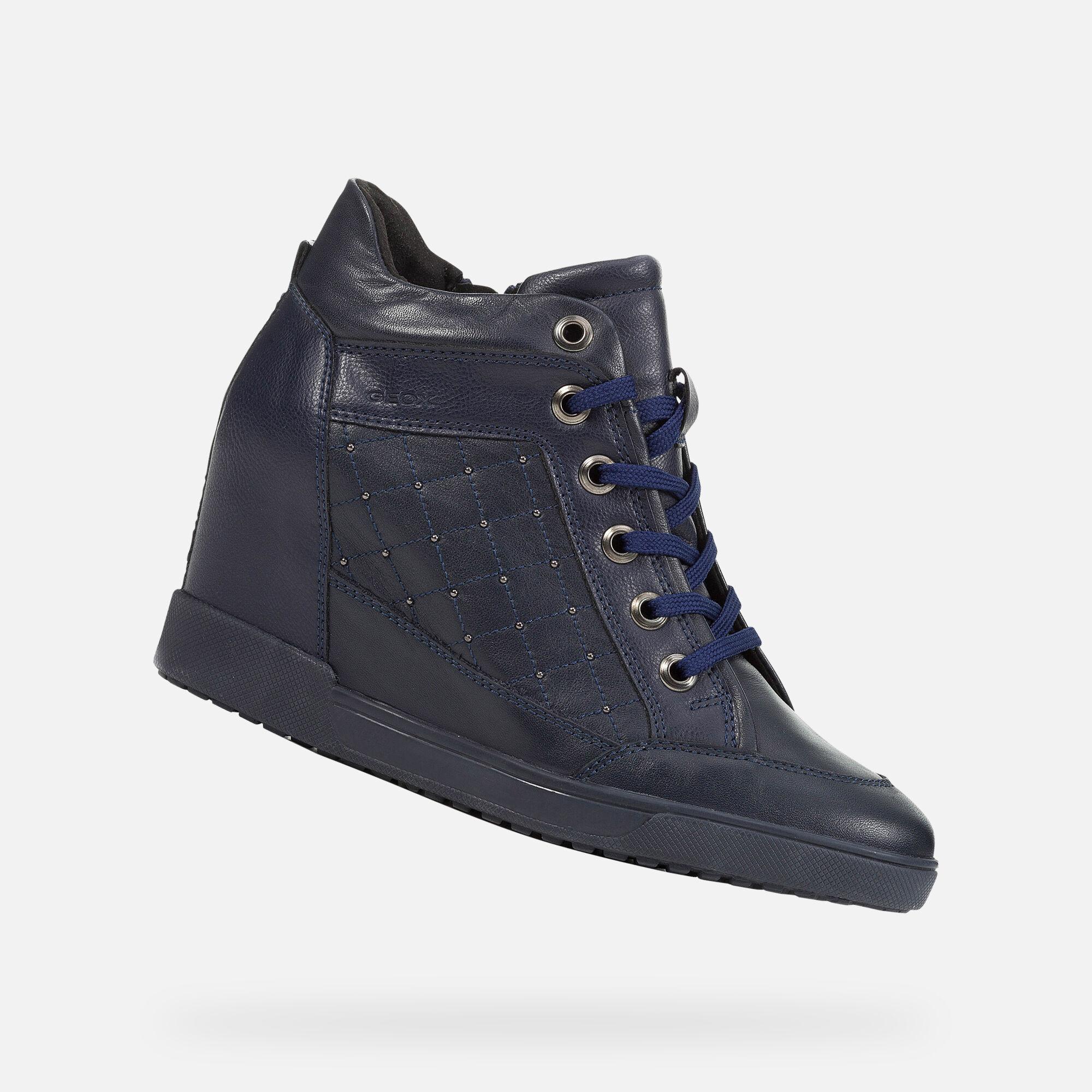 Sneakers Geox per donna in pelle e sintetico bianco zeppa alta