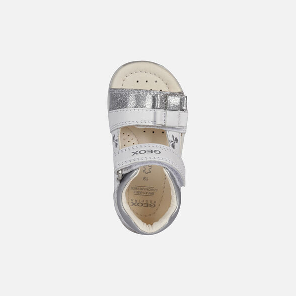 FIRST STEPS BABY GEOX TAPUZ BABY GIRL - WHITE AND SILVER