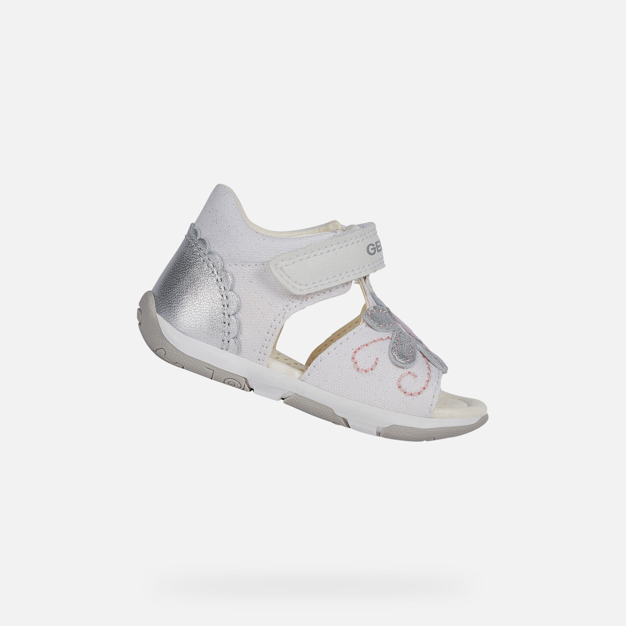 B SANDAL TAPUZ GIRL: White Silver Baby First Steps Shoes | Geox