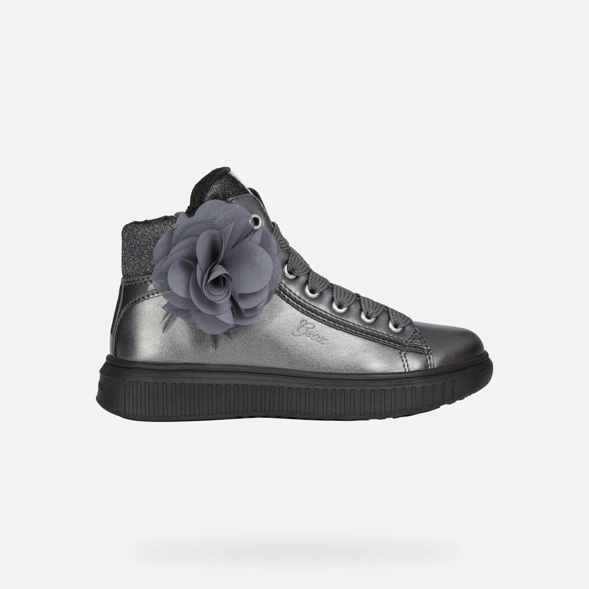 Geox DISCOMIX Mädchen: dunkelsilberne Sneakers High | Geox ®