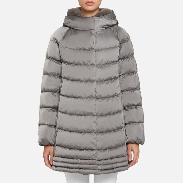 Agacharse caridad Cordero  Geox CHLOO Woman: Cloud grey Down Jacket | Geox® Online Store