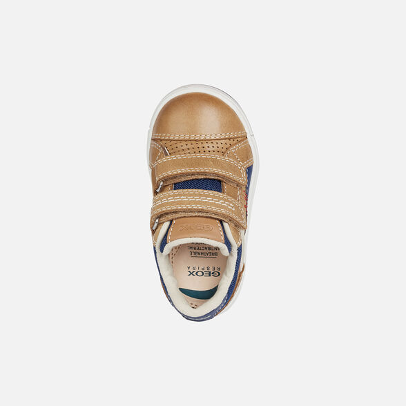 SNEAKERS BABY GEOX TROTTOLA BABY BOY - CARAMEL AND NAVY