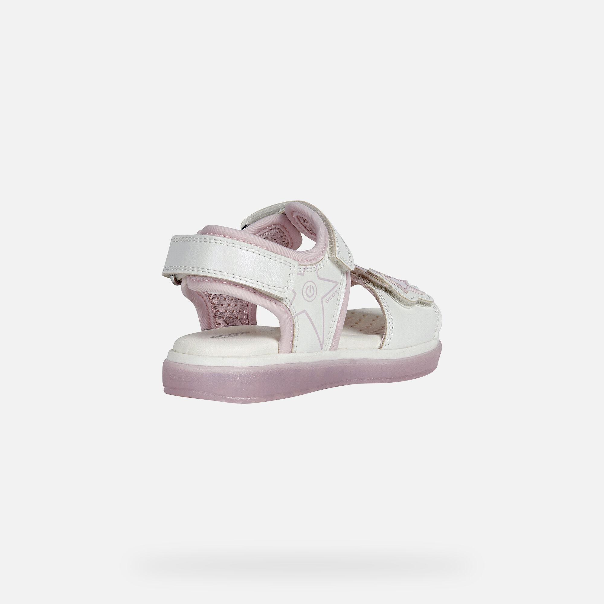 Geox BLIKK Girl: White Sandals   Geox