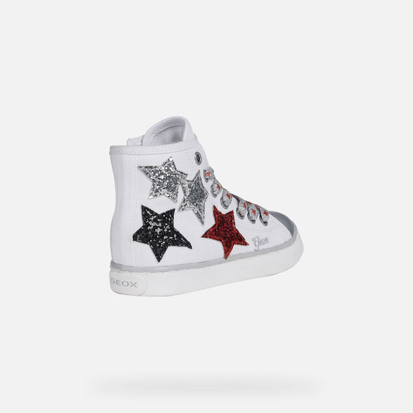 SNEAKERS GIRL GEOX CIAK GIRL - WHITE AND SILVER