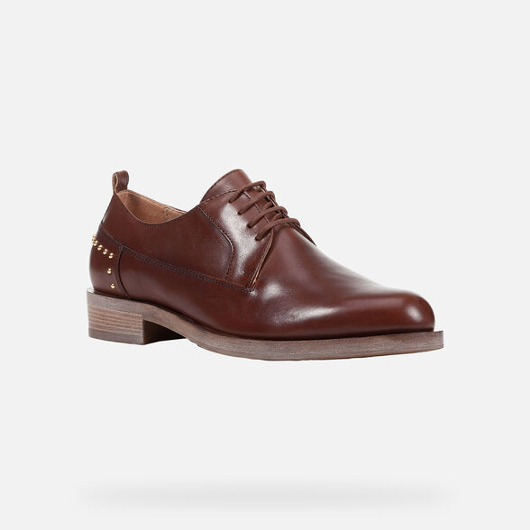 LACE UPS AND BROGUES WOMAN GEOX BROGUE WOMAN - CHESTNUT