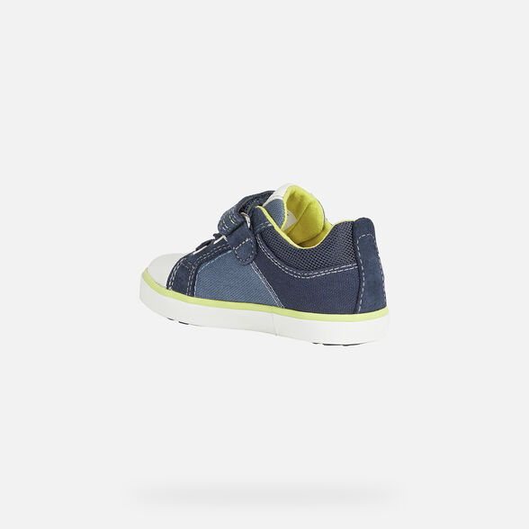 SNEAKERS BABY GEOX KILWI BABY BOY - AVIO AND FLUO YELLOW