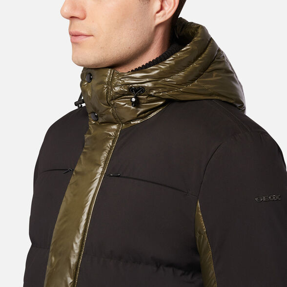 DOWN JACKETS MAN GEOX SILE MAN - FOREST NIGHT AND BLACK