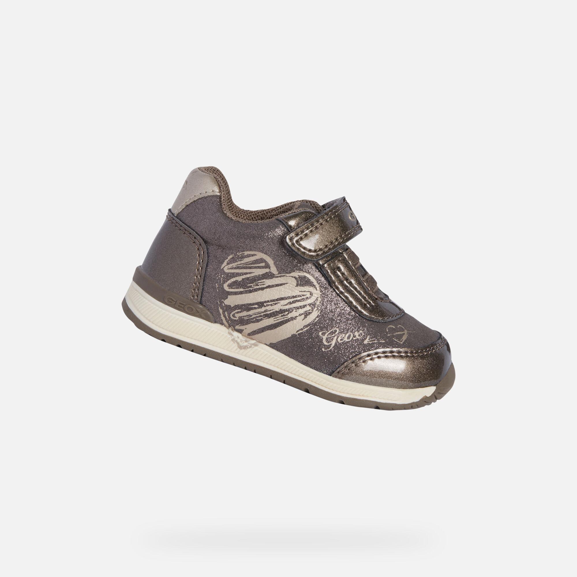 Geox scarpe da bambina primi passi con strappo GreyPink