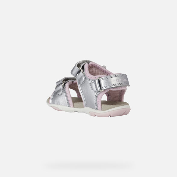 SANDALS BABY GEOX AGASIM BABY GIRL - SILVER AND PINK