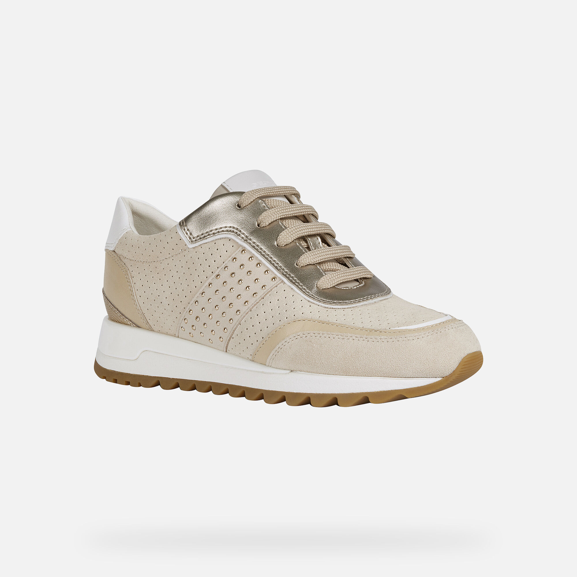 Geox Respira Womens Wedge Sneakers Beige Gold Size 40 US 9