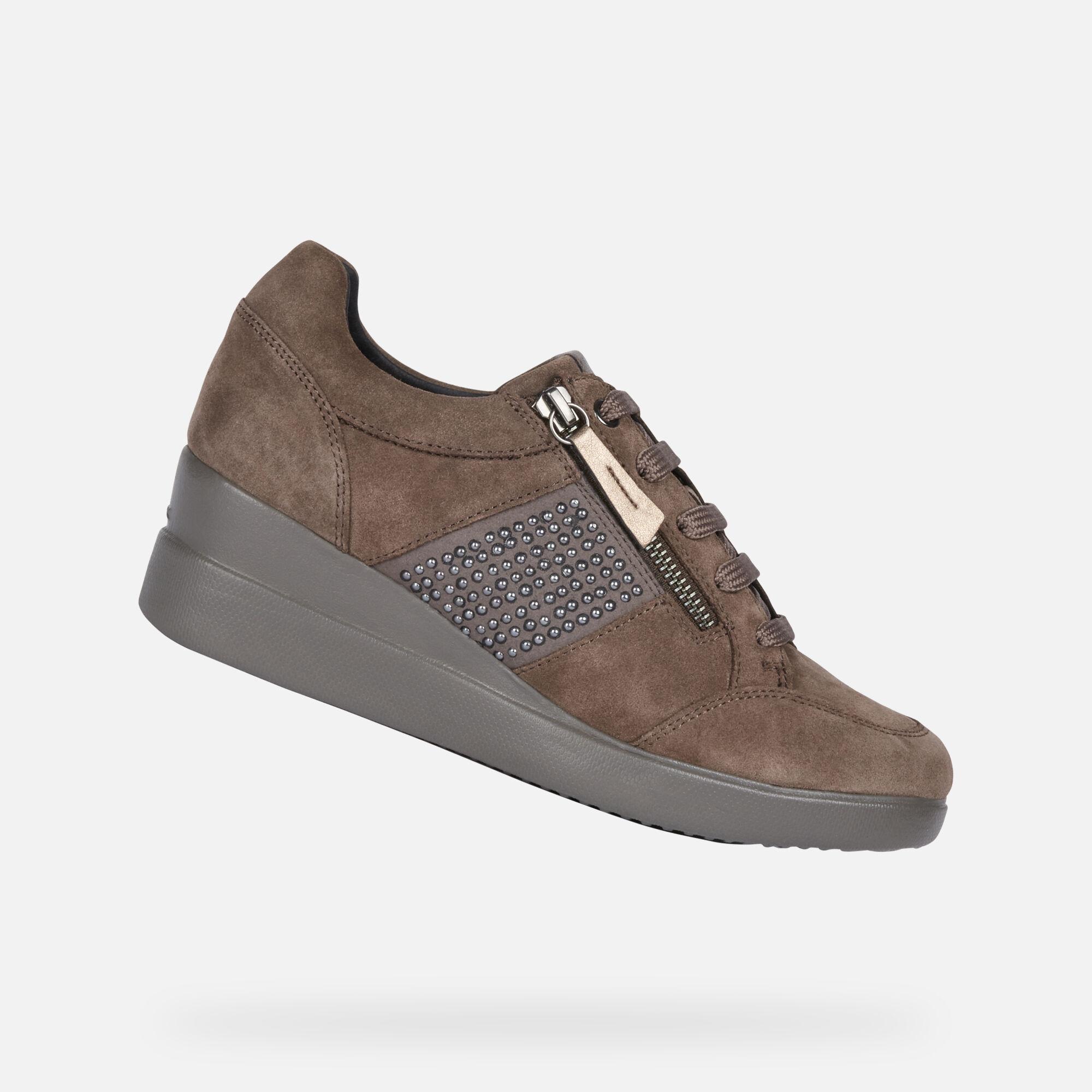 Dettagli su Scarpe sneakers donna geox stardust colore marrone
