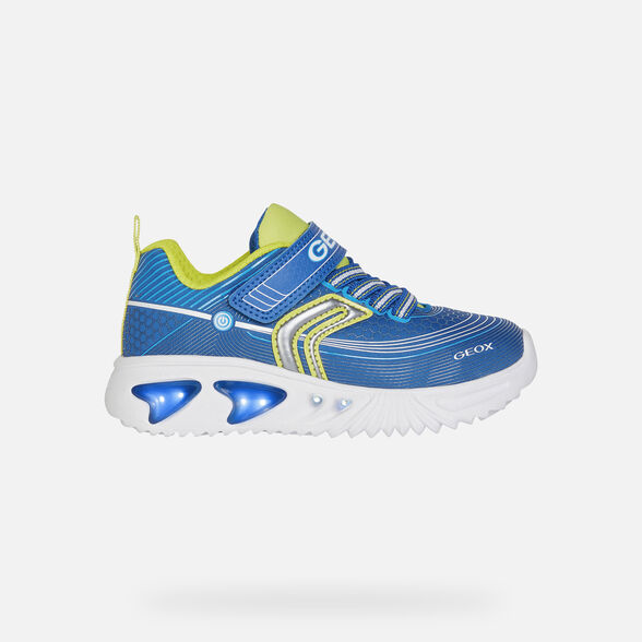LIGHT-UP SHOES BOY GEOX ASSISTER BOY - ROYAL AND LIME