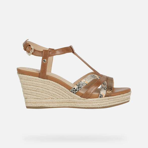 SANDALS WOMAN GEOX SOLEIL WOMAN - BROWN AND LIGHT ORANGE