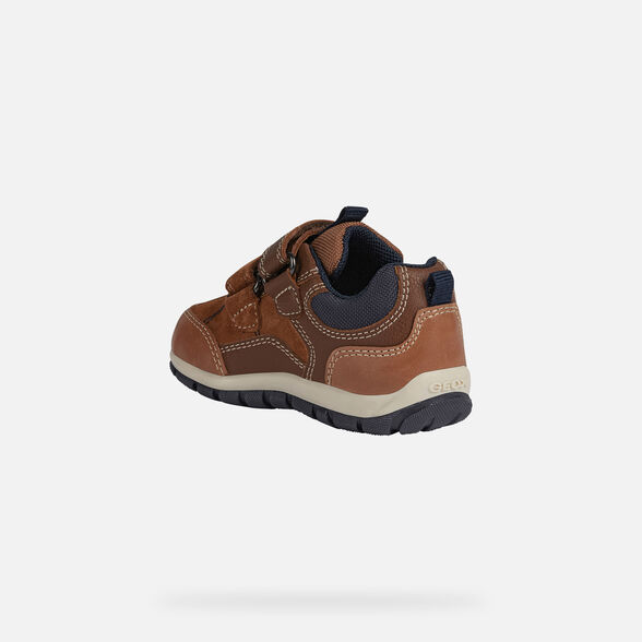 SNEAKERS BABY GEOX SHAAX BABY BOY - LIGHT BROWN AND NAVY