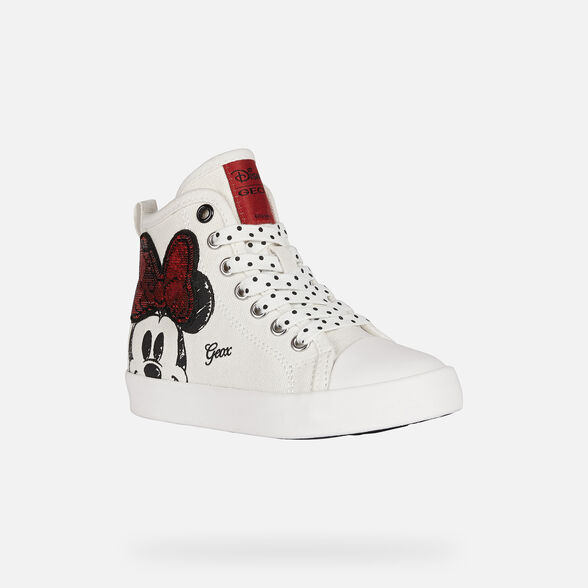 MICKEY MOUSE GIRL GEOX CIAK GIRL - OFF WHITE AND RED
