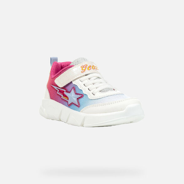 SNEAKERS GIRL GEOX ARIL GIRL - WHITE AND MULTICOLOR