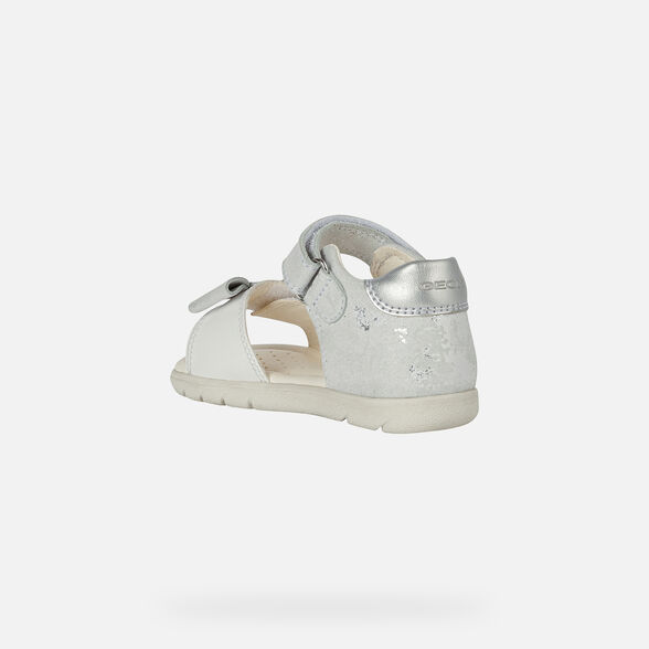 SANDALS BABY GEOX ALUL BABY GIRL - WHITE AND SILVER