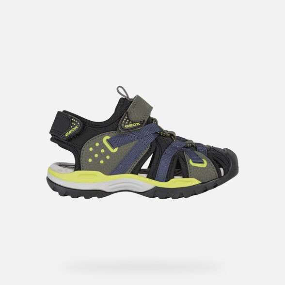 SANDALS BOY GEOX BOREALIS BOY - MILITARY AND LIME