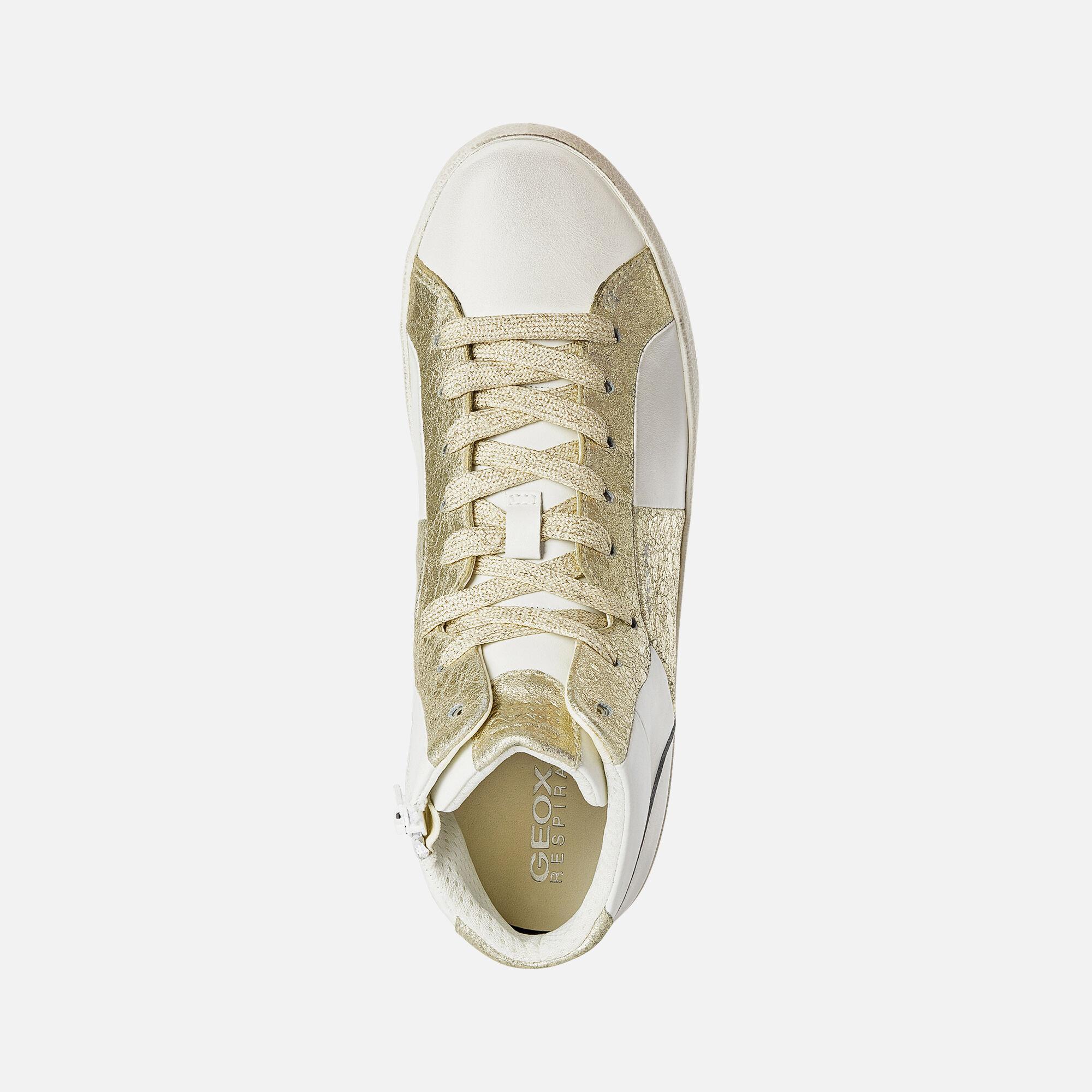 SCARPE DONNA GEOX RESPIRA dorate oro beige sneakers senza