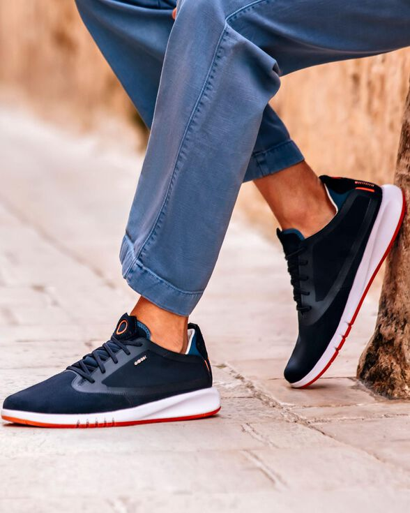 aprendiz Puerto Frotar  Geox AERANTIS Hombre: Sneakers Azul marino | Geox® Aerantis