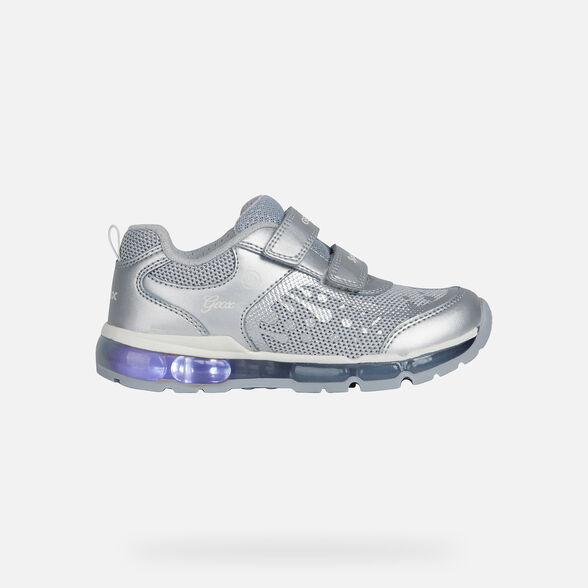 En el piso montaje Fundir  Geox ANDROID GIRL Junior Girl: Silver Sneakers | Geox® Online