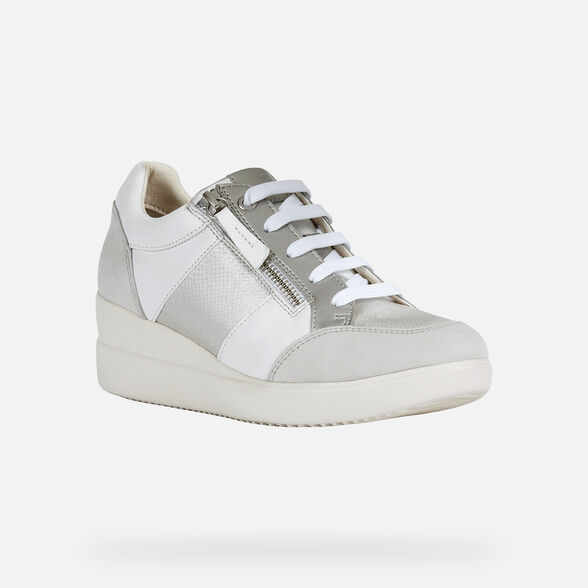 SNEAKERS WOMAN GEOX STARDUST WOMAN - WHITE AND OFF WHITE