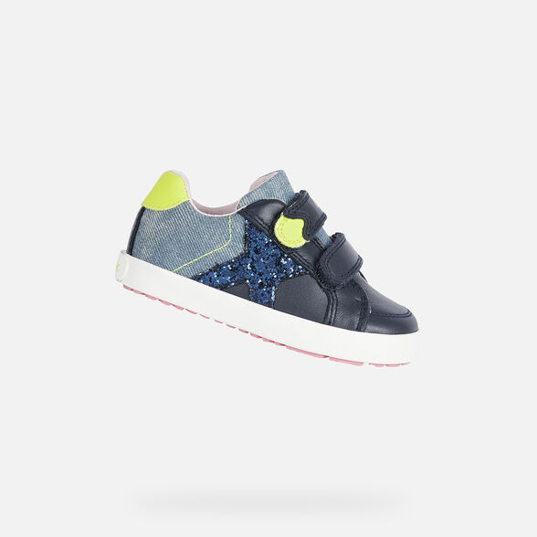 SNEAKERS BABY GEOX KILWI BABY GIRL - NAVY AND FLUO YELLOW