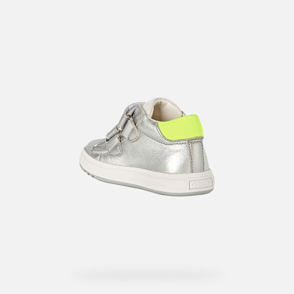 FIRST STEPS BABY GEOX BIGLIA BABY GIRL - SILVER AND FLUO YELLOW