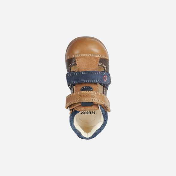 FIRST STEPS BABY GEOX KAYTAN BABY BOY - CARAMEL AND NAVY