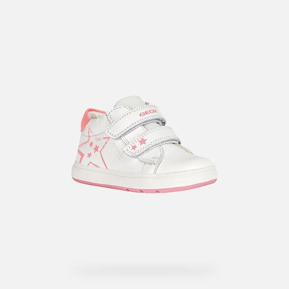 FIRST STEPS BABY GEOX BIGLIA BABY GIRL - WHITE AND FLUOFUCHSIA