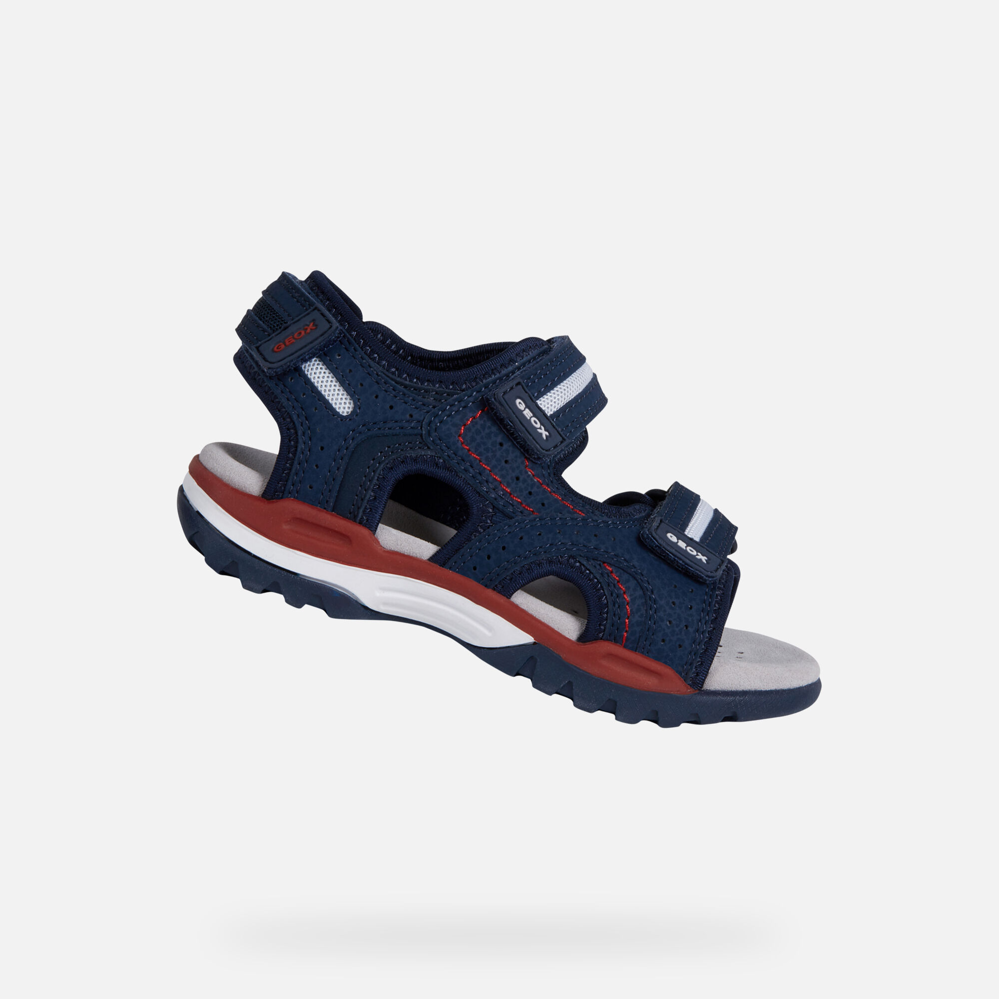 Geox J BOREALIS: Blue Navy and Red Junior Boy Sandals | Geox