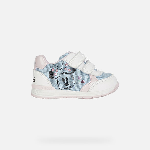 MICKEY MOUSE BABY GEOX RISHON BABY GIRL - LIGHT JEANS AND WHITE