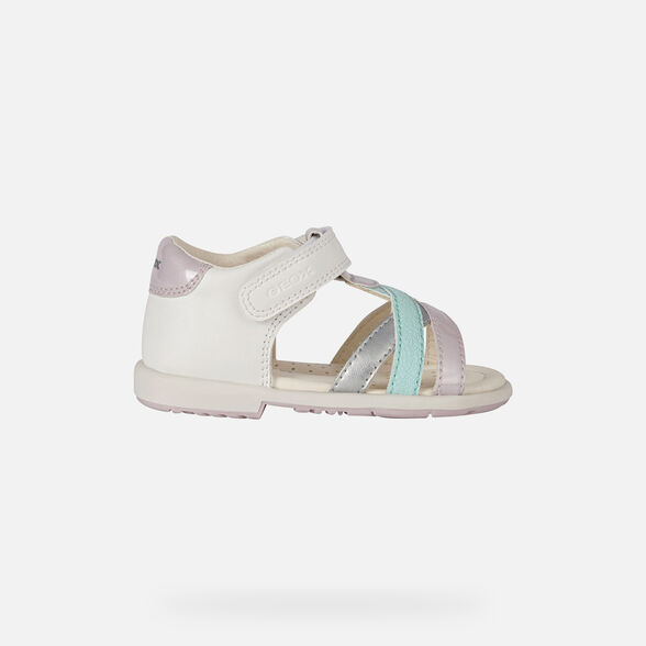SANDALS BABY GEOX VERRED BABY GIRL - WHITE AND PINK