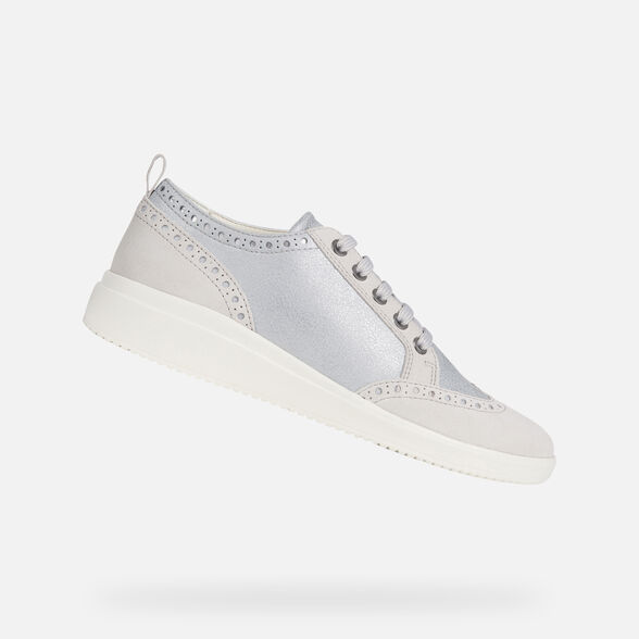 mitad de descuento ffc42 d629a Geox D TAHINA: Silver and White Woman Sneakers | Geox SS19