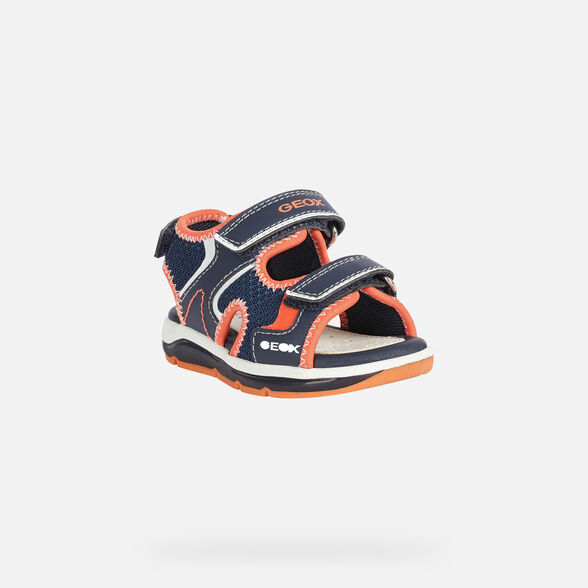 LIGHT-UP SHOES BABY GEOX TODO BABY BOY - NAVY AND ORANGEFLUO