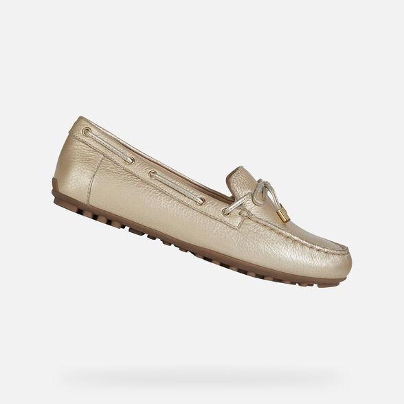 unidad Inmundicia Canoa  Geox LEELYAN Woman: Gold Loafers | Geox ® Official Store
