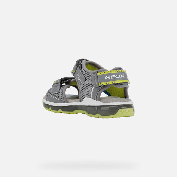 LIGHT-UP SHOES BOY GEOX ANDROID BOY - GREY AND LIME