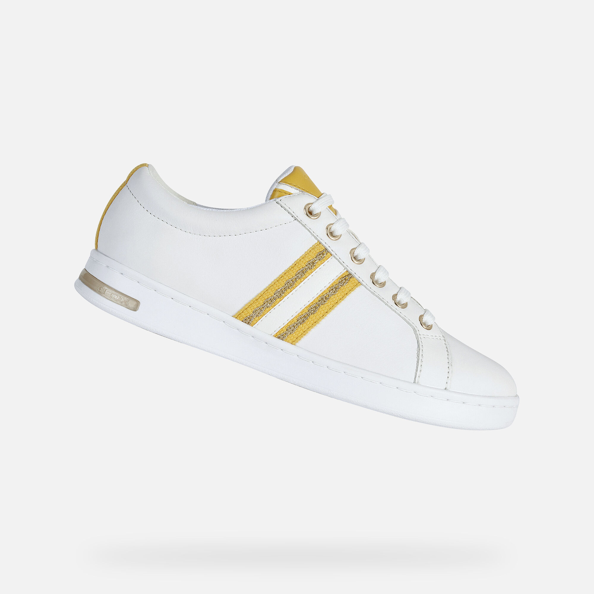 Good Looking Geox Light Yellow Women's White Sneakers