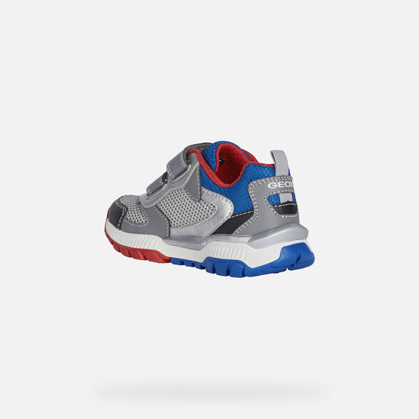 SNEAKERS BOY GEOX TUONO BOY - LIGHT GREY AND ROYAL