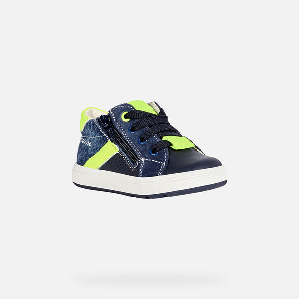 FIRST STEPS BABY GEOX BIGLIA BABY BOY - NAVY AND FLUO YELLOW