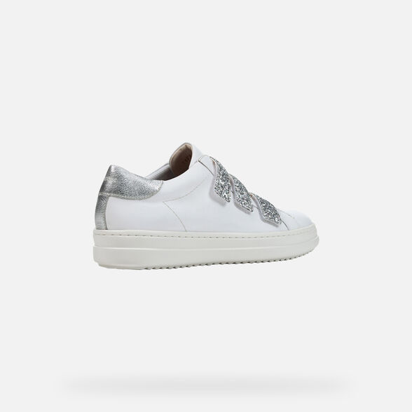 SNEAKERS WOMAN GEOX PONTOISE WOMAN - WHITE AND SILVER