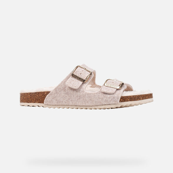 SLIDES WOMAN GEOX BRIONIA WOMAN - OFF WHITE