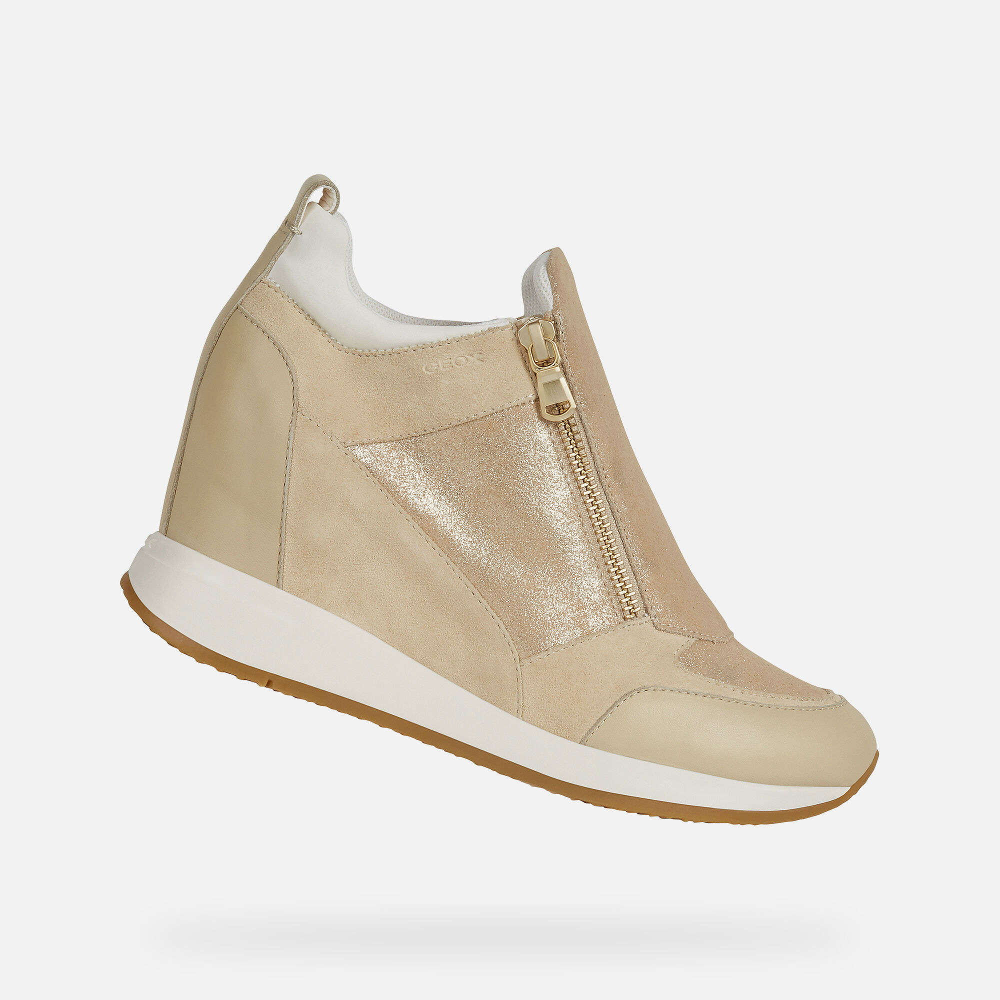 Shop Geox Nydame Leather & Suede Wedge Sneaker On Sale