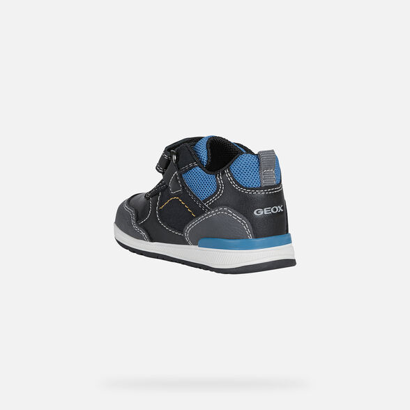 FIRST STEPS BABY GEOX RISHON BABY BOY - BLACK AND OCTANE