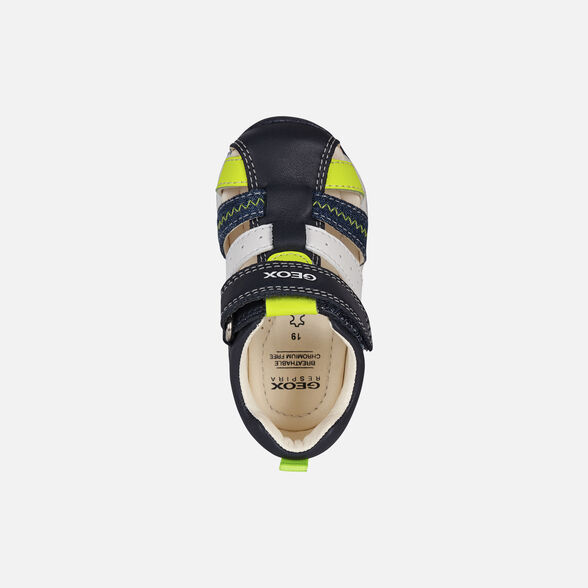 FIRST STEPS BABY GEOX EACH BABY BOY - NAVY AND FLUO YELLOW