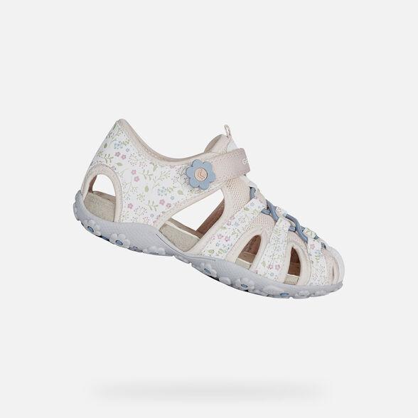 Trasplante Mareo aritmética  Geox ROXANNE Girl: White Sandals | Geox Spring/Summer