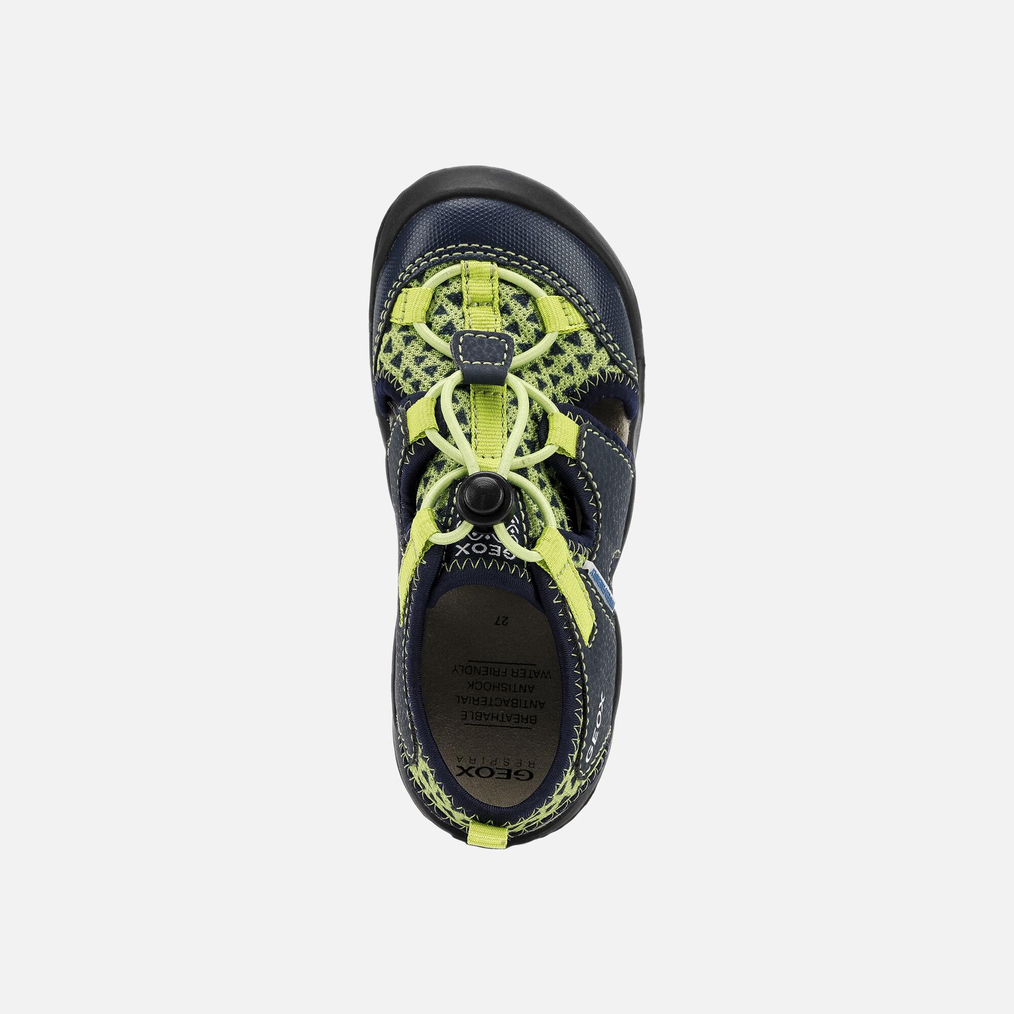 Geox JR SANDAL KYLE: Yellow and Blue Junior Boy Sandals|