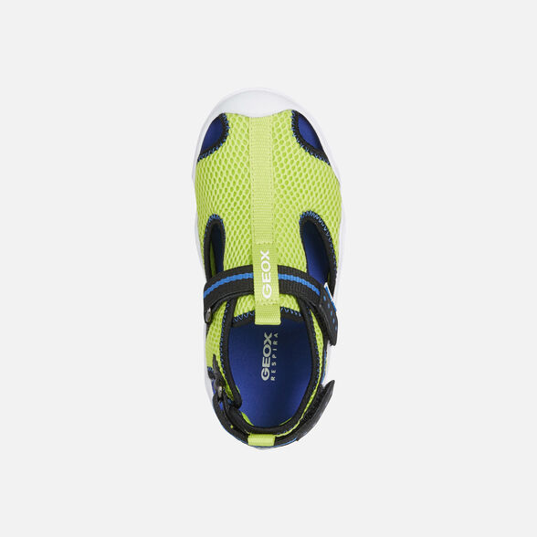 SANDALS BOY GEOX WADER BOY - LIME AND ELECTRIC BLUE